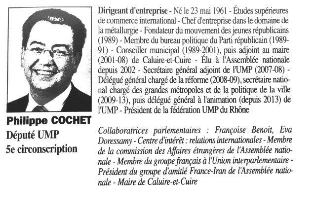 La fiche de Philippe Cochet dans l'édition de 2012-2013 duTrombinoscope. (TROMBINOSCOPE)