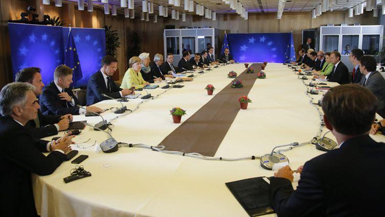 (Réunis au sein de l'Eurogroupe, les ministres des Finances de la zone euro ont refusé ce samedi un nouveau délai à la Grèce © Maxppp)