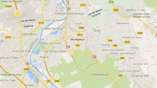 Montgeron (Essonne), où une petite fille a été retrouvée enfermée dans une boite en plastique, jeudi 26 septembre 2013. ( GOOGLE MAPS / FRANCETV INFO )