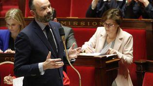 Le Premier ministre Edouard Philippe à l'Assemblée nationale, à Paris, lors des questions au gouvernement, le 28 janvier 2020. (GEOFFROY VAN DER HASSELT / AFP)