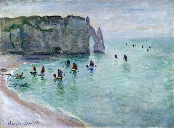 """Claude Monet (1840-1926) """"Etretat. La Porte d'Aval, bateaux de pêche sortant du port"""", vers 1885, Dijon, Musée des Beaux-Arts  (Musée des Beaux-Arts de Dijon. Photo François Jay)"""