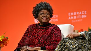 Claudette Colvin, la première femme noire à avoir refusé de laisser sa place dans un bus aux Etats-Unis, le 2 mars 1955. Ici, au sommet Embrace Ambition, le 5 mars 2020 à New-York (Usa).  (CRAIG BARRITT / GETTY IMAGES NORTH AMERICA)