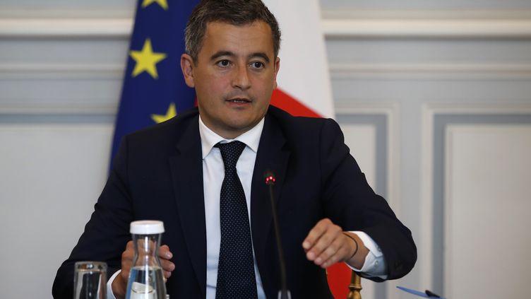 Le nouveau ministre de l'Intérieur, Gérald Darmanin, lors d'une réunion avec des représentants de la police et de la gendarmerie, le 8 juillet 2020 place Beauvau, à Paris. (THOMAS COEX / AFP)