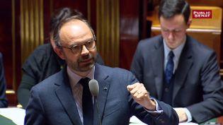 Edouard Philippe dans l'hémicycle du Sénat. (Public Sénat)