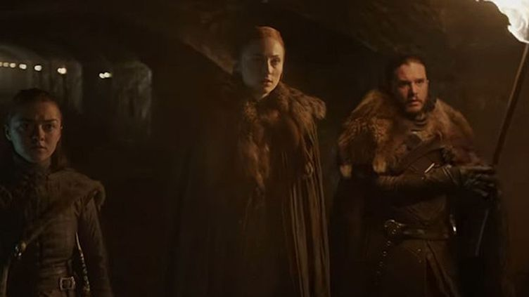 "Arya, Sansa et Jon dans le trailer de la Saison 8 de ""Game of Thrones"".  (HBO)"