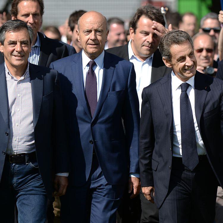 François Fillon, Alain Juppé et Nicolas Sarkozy, le 5 septembre 2015 lors de l'université d'été des Républicains, à La Baule (Loire-Atlantique). (JEAN-SEBASTIEN EVRARD / AFP)