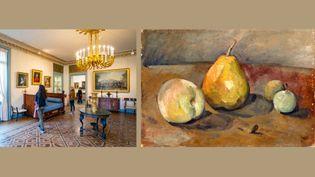 """A gauche, une salle du musée Marmottan Monet à Paris - A droite, Paul Cezanne, """"Nature morte, poires et pommes vertes"""", vers 1873, Paris, musée de l'Orangerie, collection Jean Walter et Paul Guillaume  (A gauche © GARDEL BERTRAND / HEMIS.FR / VIA AFP - A droite © RMN-Grand Palais (musée de l'Orangerie) / Hervé Lewandowski)"""
