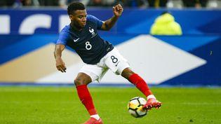 Le milieu de terrain des Bleus Thomas Lemar lors du match amical France-Colombie, le 23 mars 2018 au Stade de France (Saint-Denis). (GEOFFROY VAN DER HASSELT / AFP)