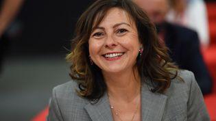 La présidente socialiste de la région Occitanie, Carole Delga, le 2 juillet 2021 à Pérols (Hérault). (SYLVAIN THOMAS / AFP)