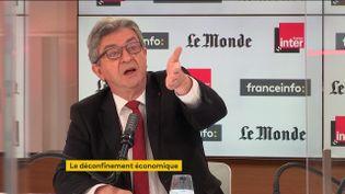 Jean-Luc Mélenchon, chef de file de la France insoumise, dans Questions politiques, le 6 juin 2021. (FRANCEINFO / RADIO FRANCE)