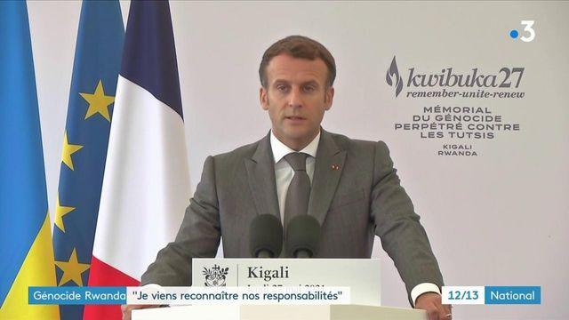 """Génocide rwandais : """"Je viens reconnaître nos responsabilités"""", a affirmé Emmanuel Macron en visite à Kigali"""