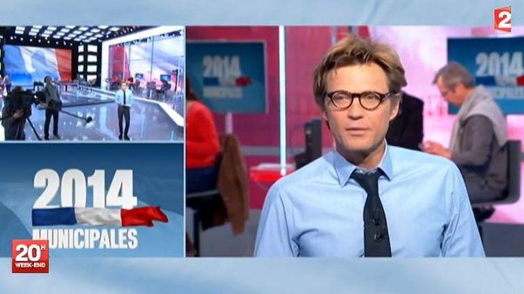 Capture d'écran, le 29 mars 2014 de la grande soirée électorale du second tour de France 2 ( FRANCE 2 / FRANCETV INFO)