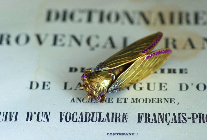"""Exposition """"Antoine Raspal"""" : broche cigale, début du XXe siècle, or et rubis  (Collection du Musée Provençal du Costume et du Bijou)"""