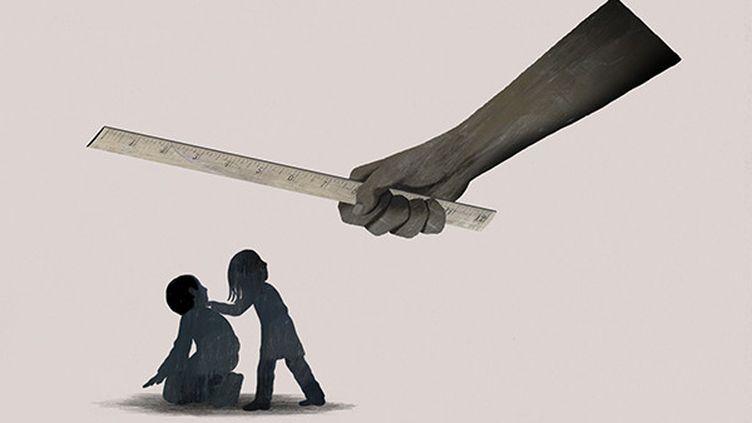 Une illustration de la violence subie par des élèves. (DADU SHIN / HUMAN RIGHTS WATCH)