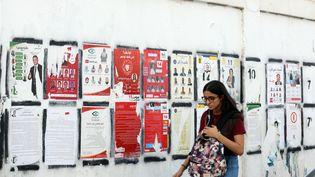 Une femme dans les rues de Tunis devant les affiches électorales. (MOHAMED MESSARA / EPA)