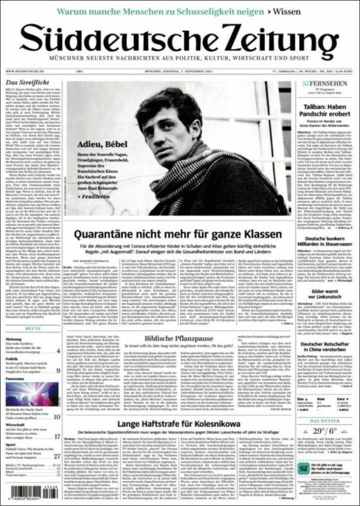"""La une du """"Suddeutsche Zeitung"""", le 7 septembre 2021. (SUDDEUTSCHE ZEITUNG)"""