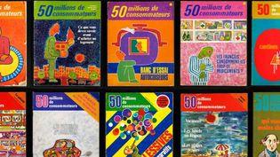"""Mosaîque des unes du magazine qui fête ses 50 ans. Il s'appelait """"50 millions de consommateurs"""" au début des années 80. (60 MILLIONS DE CONSOMMATEURS)"""