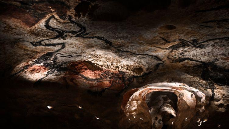 Des peintures dans la grotte de Lascaux à Montignac en Dordogne, mai 2021 (PHILIPPE LOPEZ / AFP)
