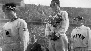 L'athlète coréen Son Kee Chung remporte la médaille d'or lors de l'épreuve de marathon des JO de Berlin en 1936. (* / MAXPPP TEAMSHOOT)