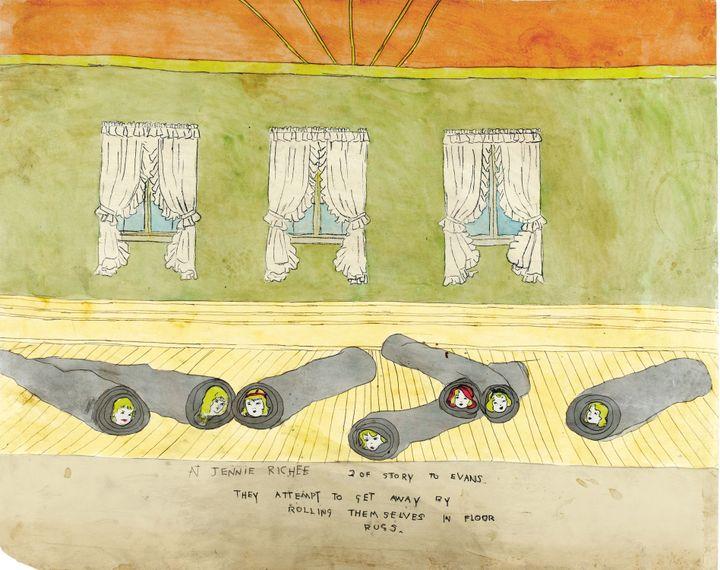 """Henry Darger, """"A Jennie Richee 2 de l'histoire à Evans. Elles tentent de s'enfuir en s'enroulant dans des tapis.  (Eric Emo / Musée d'Art Moderne / Roger-Viollet © 2015 Kiyoko Lerner / ADAGP, Paris)"""