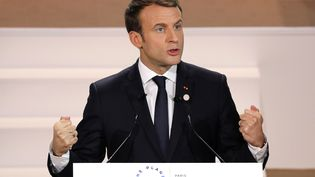 Emmanuel Macron, le 12 décembre 2017, au sommet pour le climat à Paris. (LUDOVIC MARIN / AFP)