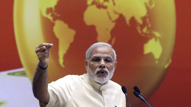 Le Premier ministre indien Narendra Modi précise dans un discours sa politique énergétique. (Reuters: Adnan Abidi)