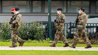 """Des militaires de l'opération """"Sentinelle"""" en patrouille, le 25 novembre 2020 à Thionville (Moselle). (NICOLAS BILLIAUX / HANS LUCAS)"""