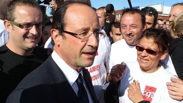 Hollande à Amiens, le 14 octobre 2011, à J-2 du 2nd tour de la primaire (FRANCOIS NASCIMBENI / AFP)
