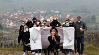 Une marche blanche en mémoire d'Estelle Luce, une DRH assassinée le 26 janvier près de Colmar (Haut-Rhin), àOrschwihr, le 6 février 2021. (MAXPPP)