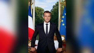 Le portrait d'Emmanuel Macron diffusé sur le compte Twitter du président de la République, le 29 juin 2017. (SOAZIG DE LA MOISSONNIERE)