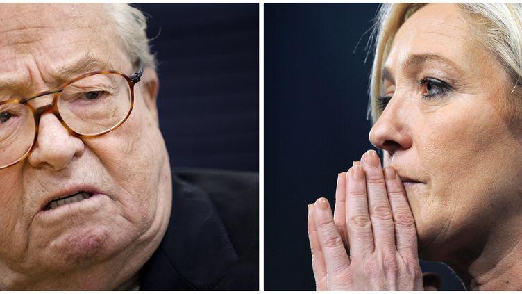 Jean-Marie Le Pen le 17 janvier 2015 et sa fille Marine, le 16 janvier 2011. (JEAN-SEBASTIEN EVRARD / AFP)