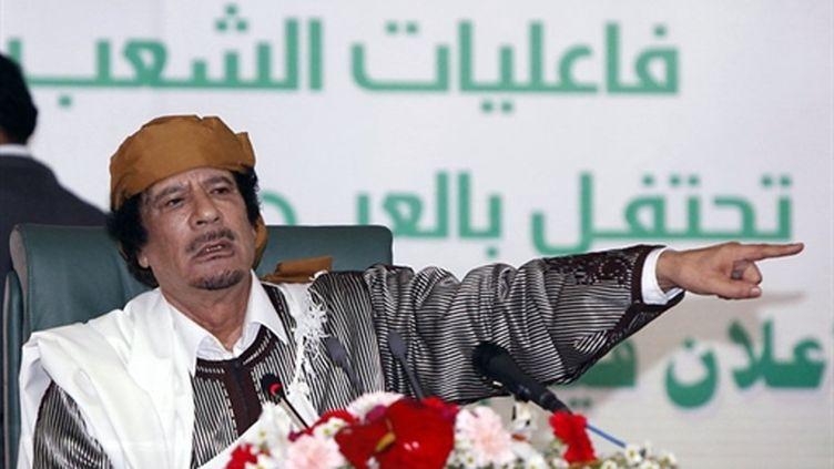 Le colonel Kadhafi le 2 mars 2011 à Tripoli. (AFP - Mahmud Turkia)