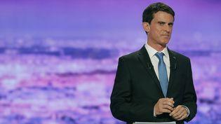 Manuel Valls, le 12 janvier 2017, lors du premier débat entre les candidats àla primaire de la gauche. (PHILIPPE WOJAZER / AFP)