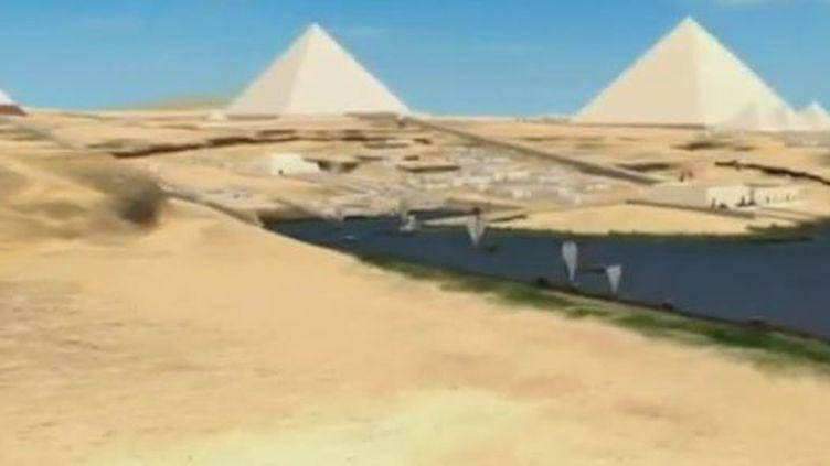 Le musée de Boston (Massachusetts) a reconstitué les pyramides et les tombes du plateau de Gizeh, un univers recréé grâce aux archives d'un archéologue américain. (CAPTURE D'ÉCRAN FRANCE 3)
