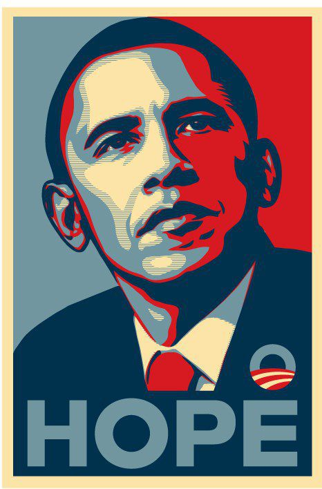 A l'origine, le poster iconique de la campagne du candidat démocrate Obama en 2008 avec le mot «Espoir» (Shepard Fairey)