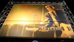 A Nice, les fans rendent hommage à Johnny Hallyday devant un écran géant, le 6/12/2017  (SEBASTIEN NOGIER/EPA/Newscom/MaxPPP)