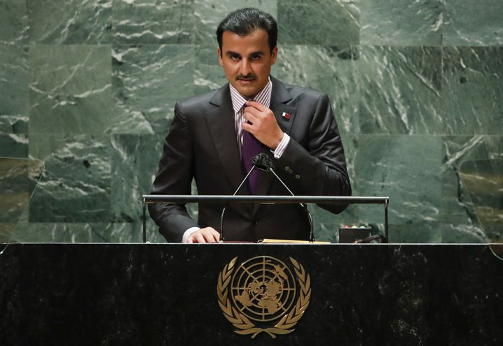 L'émir du Qatar, Tamim ben Hamad Al Thani, à la tribune des Nation-unies, le 21 septembre 2021 à New York (Etats-Unis). (EDUARDO MUNOZ VIA AFP)