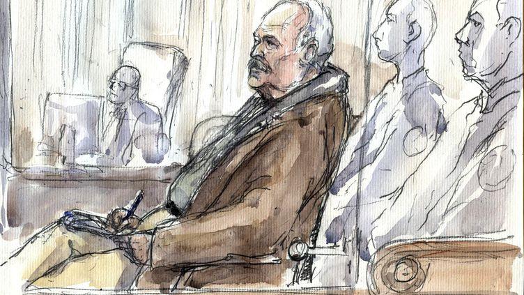 Un dessin d'audience représentant Carlos, lors de son procès à Paris, le 13 décembre 2011. (BENOIT PEYRUCQ / AFP)