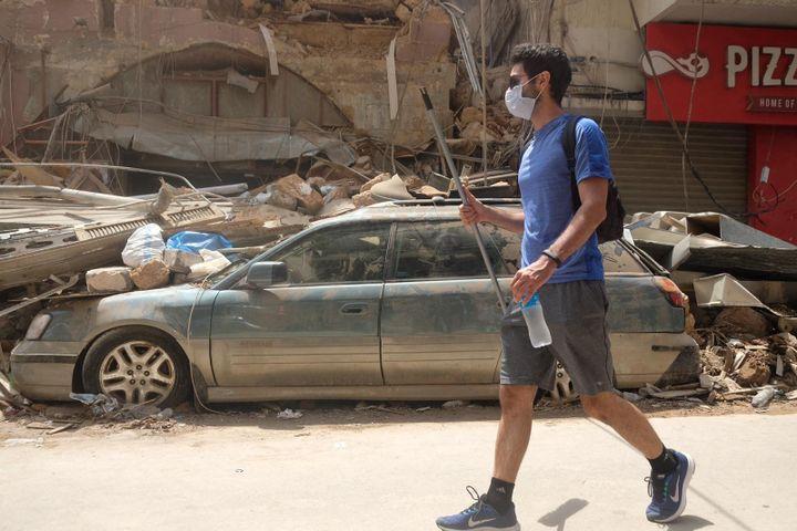 Les dégâts dans le quartier de Gemmayze, voisin du port de Beyrouth. (NATHANAEL CHARBONNIER / ESP - REDA INTERNATIONALE)