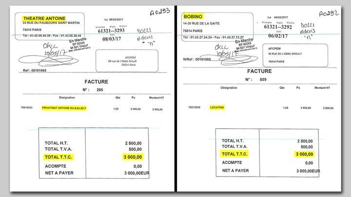 Les deux factures de 3000 euros adressées à En Marche pour la location des théâtres de Jean-Marc Dumontet (Cellule investigation Radio France)