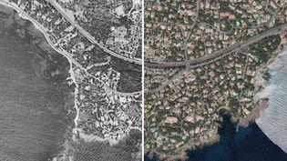 La ville de Saint-Raphaël dans le Var en 1955 et en 2017. (IGN)