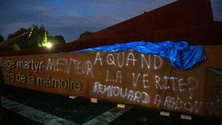 Les inscriptions sur le centre de la mémoire du village martyr d'Oradour-sur-Glane. (STEPHANE LEF?VRE / MAXPPP)