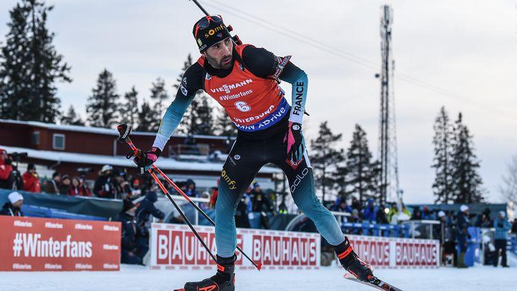 Martin Fourcade, au Championnat du monde de biathlon à Ostersund (Suède), le 10 mars 2019. (JONATHAN NACKSTRAND / AFP)