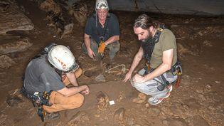 Archéologues et anthropologues français observent des restes mis au jour dans la grotted'Iroungou, au Gabon, le 3 mars 2020 (PASCAL MORA / ARCHEOVISION / AFP)