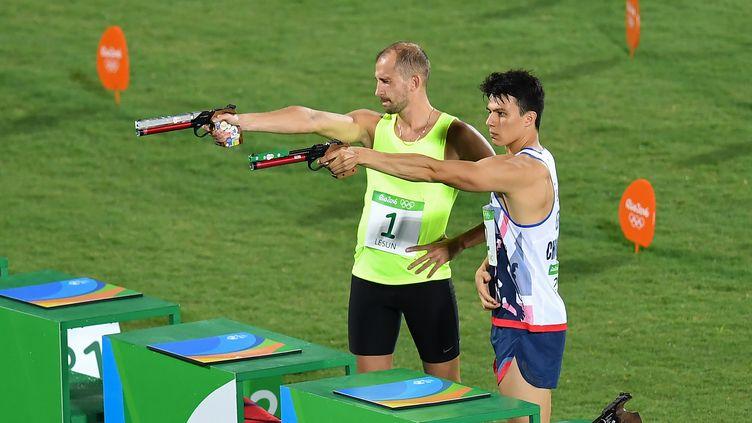 Epreuve de tir au pentathlon à Rio,aux Jeux Olympiques, le 20 août 2016 (MANAN VATSYAYANA / AFP)