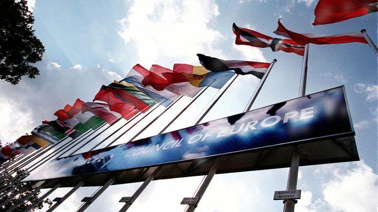 Les drapeaux européens à l'éntrée du Conseil de l'Europe. (PHILIPPE HUGUEN / AFP)