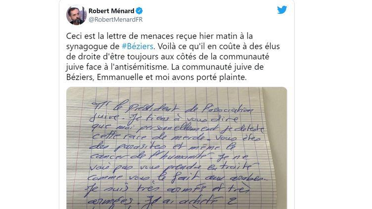 Le maire de Béziers, Robert Mesnard, a partagé sur son compte Twitter le courrier de menaces reçu par la synagogue, le 10 juin 2021. (CAPTURE D'ECRAN TWITTER)