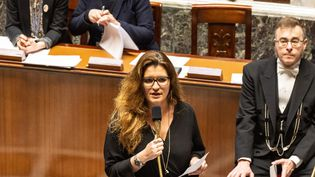 Marlène Schiappa, secrétaire d'Etat à l'égalité femme/homme a décidé de développer le signalement des violences conjugales par sms (au 39 19) pendant le confinement. (AMAURY CORNU / HANS LUCAS)