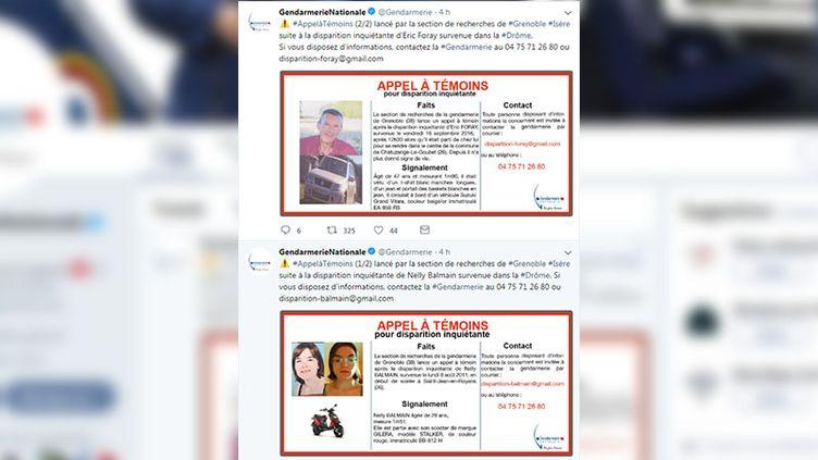 Les appels à témoins relayés par le compte Twitter de la gendarmerie nationale, le 11 juin 2018. (CAPTURE ECRAN / FRANCEINFO)