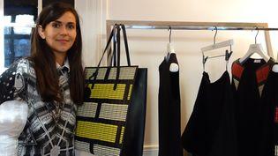 Marie-Christine Statz devant la collection capsule p-e 2014 pour le Bon Marché  (Corinne Jeammet)
